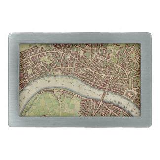 Mapa del vintage de Londres (siglo XVII) Hebillas Cinturon