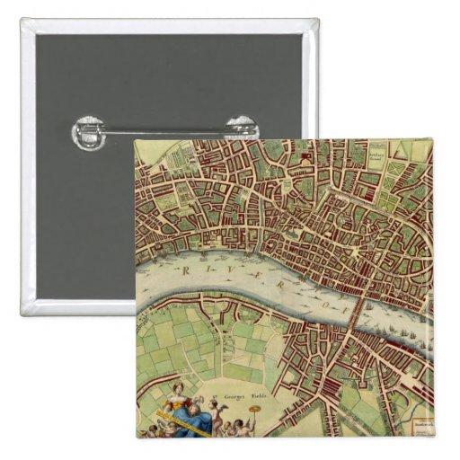 Mapa del vintage de Londres (siglo XVII) Pins