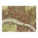 Mapa del vintage de Londres (siglo XVII) Tarjeta Postal