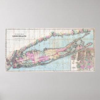 Mapa del vintage de Long Island 1880 Posters