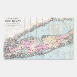 Mapa del vintage de Long Island (1880) Pegatina Rectangular