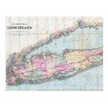 Mapa del vintage de Long Island (1880) Postales