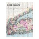 Mapa del vintage de Long Island (1880) Tarjetas Postales