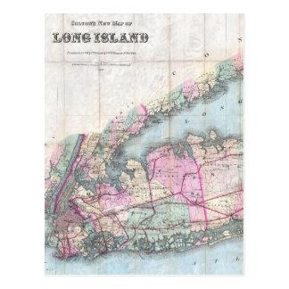 Mapa del vintage de Long Island (1880) Postal