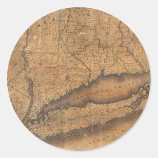 Mapa del vintage de Long Island y de Connecticut Pegatinas Redondas