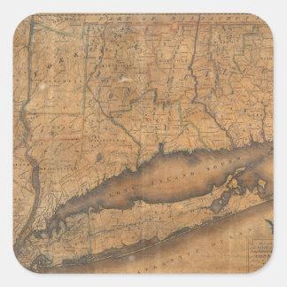 Mapa del vintage de Long Island y de Connecticut Pegatinas Cuadradas