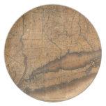 Mapa del vintage de Long Island y de Connecticut ( Plato De Cena