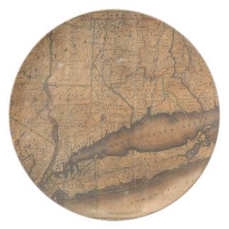 Mapa del vintage de Long Island y de Connecticut Plato De Cena