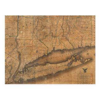 Mapa del vintage de Long Island y de Connecticut Tarjeta Postal