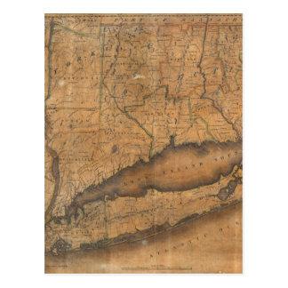 Mapa del vintage de Long Island y de Connecticut Tarjetas Postales