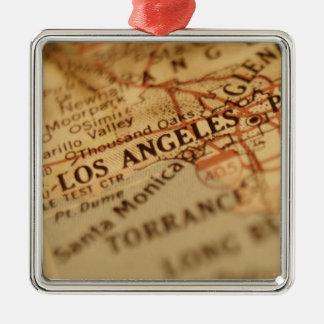 Mapa del vintage de LOS ÁNGELES Ornaments Para Arbol De Navidad