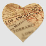 Mapa del vintage de LOS ÁNGELES Calcomanía Corazón Personalizadas