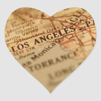 Mapa del vintage de LOS ÁNGELES Pegatina En Forma De Corazón