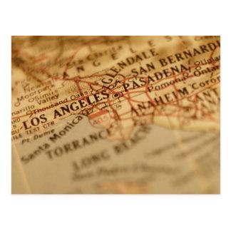 Mapa del vintage de LOS ÁNGELES Tarjeta Postal
