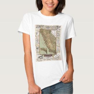 Mapa del vintage de los caminos de California Playera