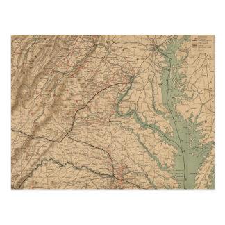 Mapa del vintage de los campos de batalla de Virgi Postales