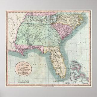 Mapa del vintage De los E.E.U.U. del sudeste (1806 Poster