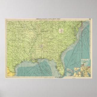 Mapa del vintage De los E.E.U.U. del sudeste Ports Póster
