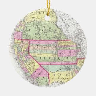 Mapa del vintage de los Estados Unidos Adorno Navideño Redondo De Cerámica