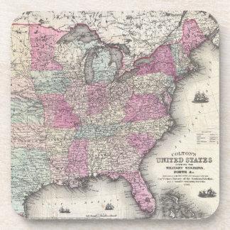Mapa del vintage de los Estados Unidos del este (1 Posavasos De Bebidas