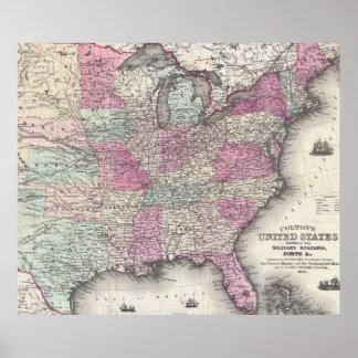 Mapa del vintage de los Estados Unidos del este (1 Póster