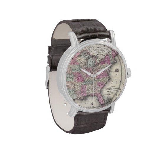 Mapa del vintage de los Estados Unidos del este (1 Reloj