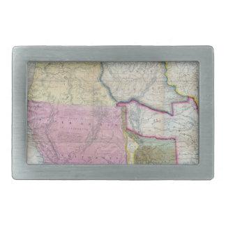 Mapa del vintage de los Estados Unidos occidentale Hebilla Cinturón Rectangular