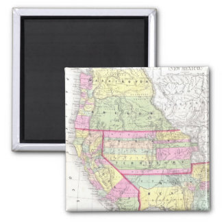 Mapa del vintage de los Estados Unidos occidentale Imán Cuadrado