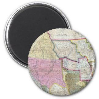 Mapa del vintage de los Estados Unidos occidentale Imán Redondo 5 Cm