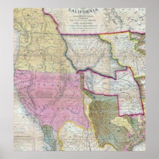 Mapa del vintage de los Estados Unidos occidentale Impresiones