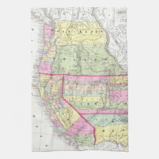 Mapa del vintage de los Estados Unidos occidentale Toallas