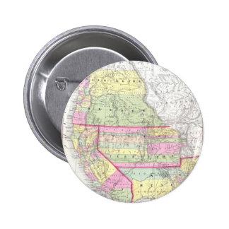 Mapa del vintage de los Estados Unidos occidentale Pin Redondo De 2 Pulgadas