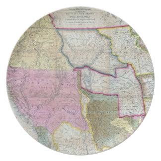 Mapa del vintage de los Estados Unidos occidentale Plato De Cena