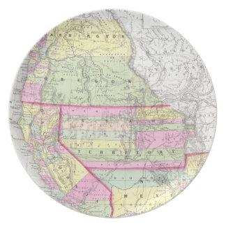 Mapa del vintage de los Estados Unidos occidentale Platos De Comidas
