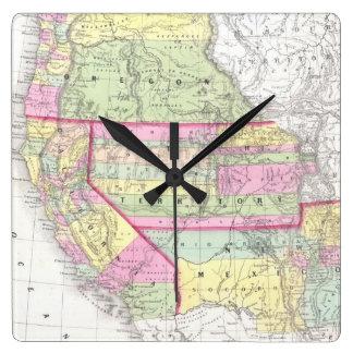 Mapa del vintage de los Estados Unidos occidentale Reloj Cuadrado