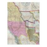 Mapa del vintage de los Estados Unidos occidentale Postal