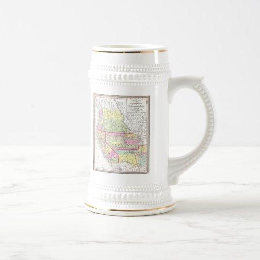 Mapa del vintage de los Estados Unidos occidentale Taza De Café