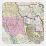 Mapa del vintage de los Estados Unidos Calcomania Cuadradas Personalizadas