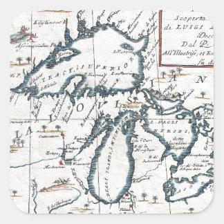 Mapa del vintage de los Great Lakes (1696) Pegatina Cuadrada
