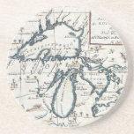 Mapa del vintage de los Great Lakes (1696) Posavasos Cerveza