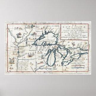 Mapa del vintage de los Great Lakes (1696) Póster