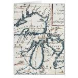 Mapa del vintage de los Great Lakes (1696) Tarjeton