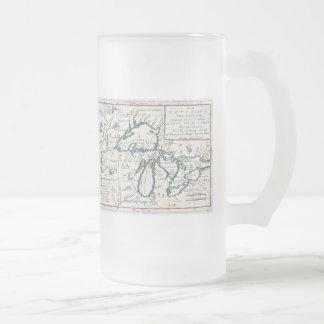 Mapa del vintage de los Great Lakes (1696) Taza Cristal Mate
