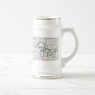 Mapa del vintage de los Great Lakes 1696 Tazas De Café