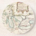 Mapa del vintage de los Great Lakes (1755) Posavasos Manualidades