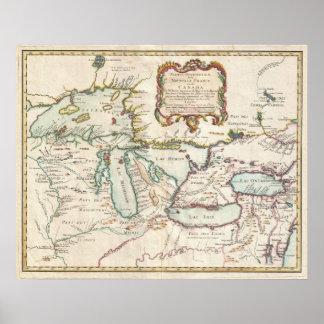 Mapa del vintage de los Great Lakes (1755) Póster