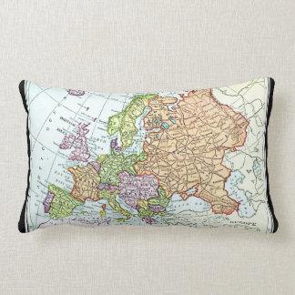 Mapa del vintage de los pasteles coloridos de Euro Almohada