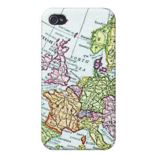 Mapa del vintage de los pasteles coloridos de Euro iPhone 4 Carcasas