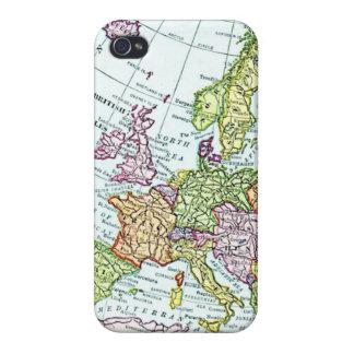 Mapa del vintage de los pasteles coloridos de Euro iPhone 4/4S Funda