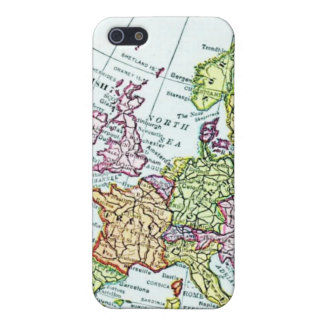 Mapa del vintage de los pasteles coloridos de Euro iPhone 5 Carcasas
